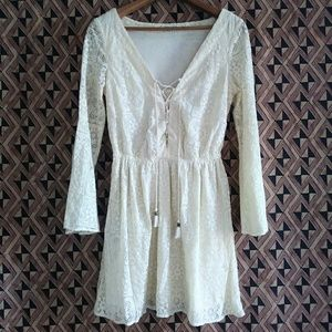 AEO Hippie Boho Lace up dress/long blouse Ivory